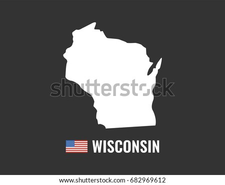 Wisconsin Map Isolated On White Background Stock Vector - Wisconsin map usa