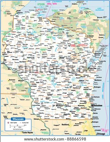 Wisconsin State Map Stock Vector 88866598 Shutterstock
