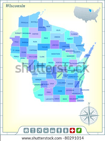 Wisconsin State Map with Community Assistance and Activates Icons Original Illustration - stock vector