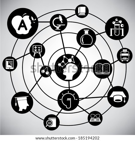 wisdom and knowledge network, info graphic - stock vector