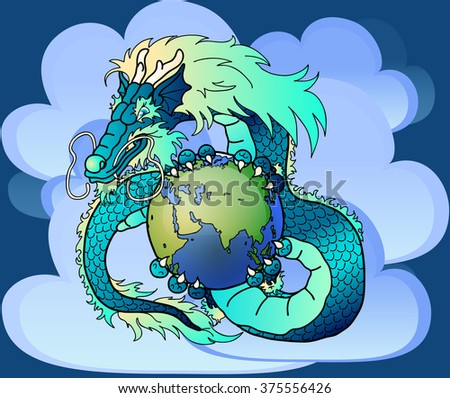 Wise blue water east dragon holds in hand the earth against clouds - stock vector