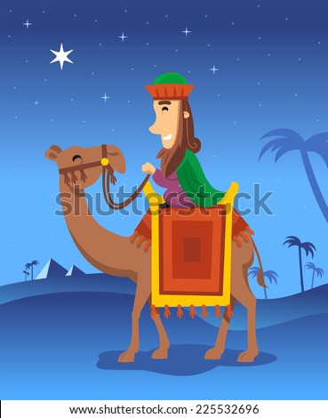 Wise king following the Star of Bethlehem vector cartoon illustration