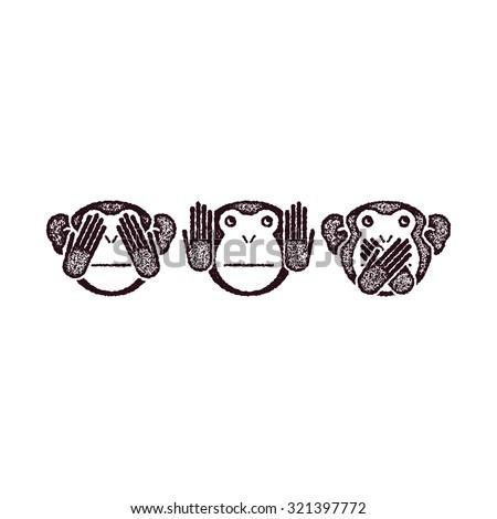 Wise monkeys. Grunge style. Vector illustration. - stock vector