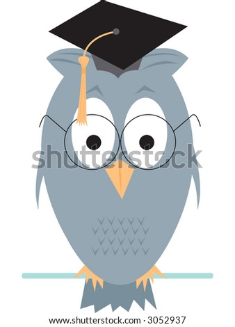 Wise old owl cartoon. Fully editable vector illustration