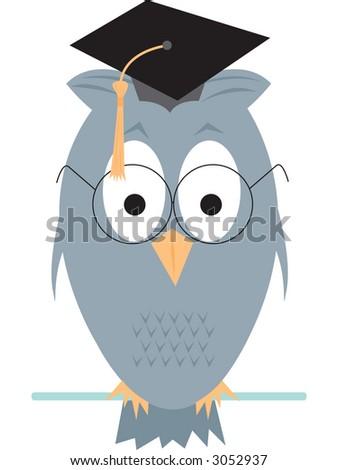 Wise old owl cartoon. Fully editable vector illustration - stock vector
