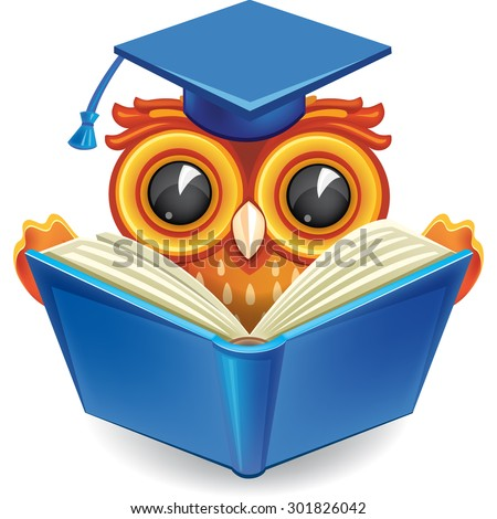 Wise owl in graduation cap with an open book - stock vector