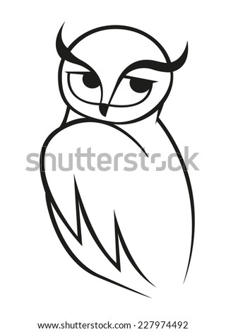 Wise owl vector doodle sketch in black and white looking over its shoulder to the side. For wildlife, tattoo or another design - stock vector