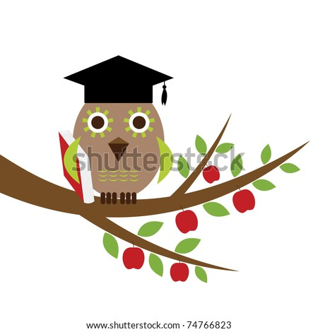 Wise owl with a book - stock vector