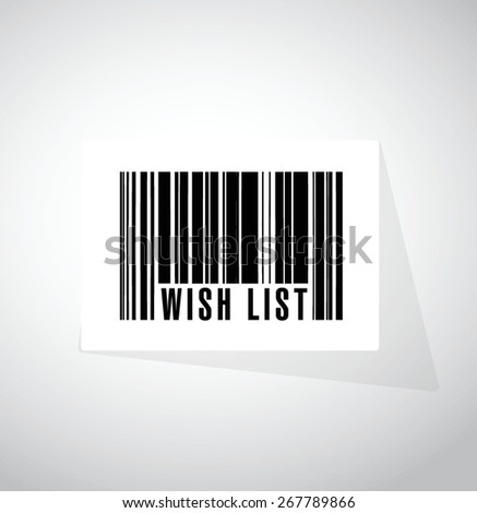 wish list barcode sign concept illustration design over white - stock vector