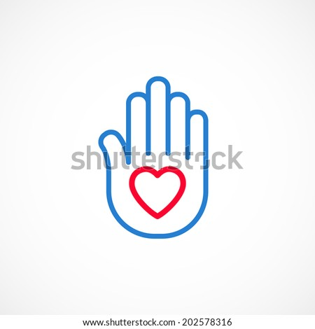 Wishing well heart on an open palm symbol line icon. - stock vector