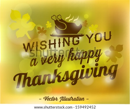 Wishing You a Very Happy Thanksgiving Abstract Vector Background in Vintage Style - stock vector