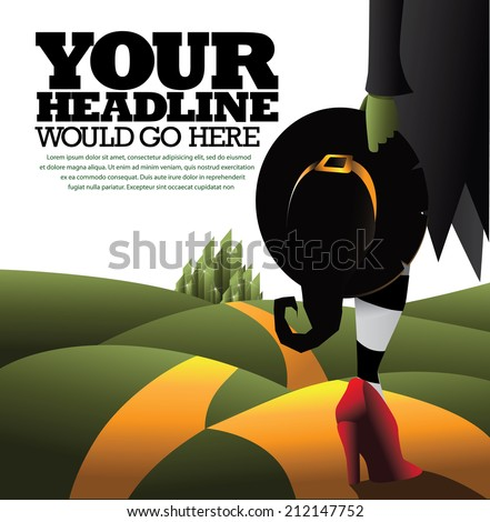 Witch advertising template. . EPS 10 vector, grouped for easy editing. No open shapes or paths. - stock vector