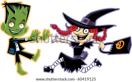 Witch and Frankenstein - stock vector