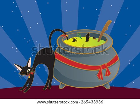 witch cauldron and black cat on Halloween night - stock vector