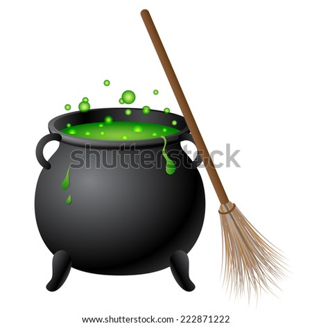 Witch cauldron with green potion and broom