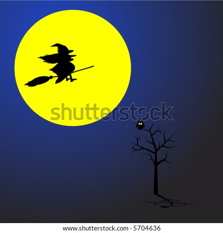Witch flying on a broom stick across a full moon. Concept: Halloween. - stock vector