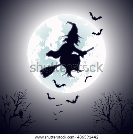 Witch Flying on Broomstick Vector Template