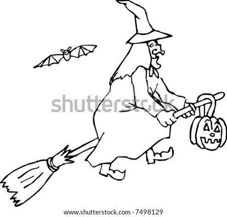 Witch Flying On Broom Stock Vector 7498129