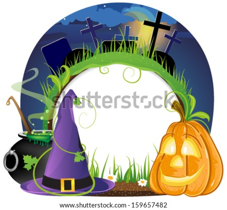 Witch hat, boiling cauldron and pumpkin head on a night cemetery - stock vector