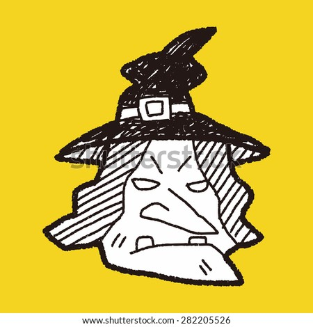 witch hat doodle - stock vector