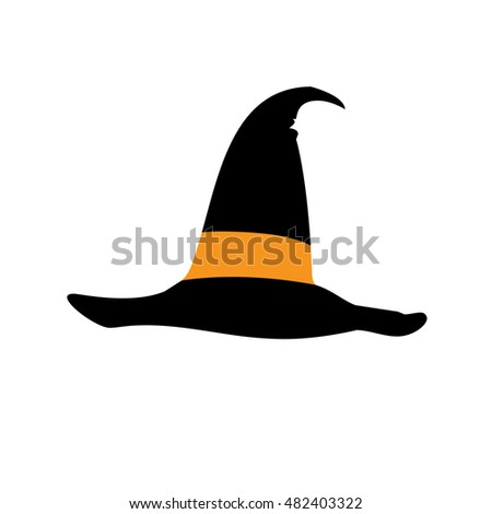 Witch hat. Halloween icon ff black hat on white background