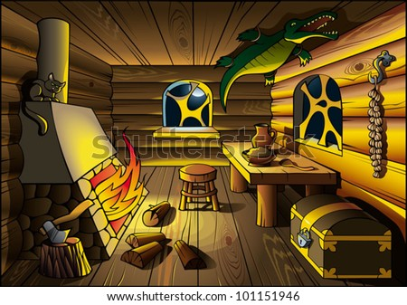 Witch house interior, lit by fire from chimney, vector illustration - stock vector