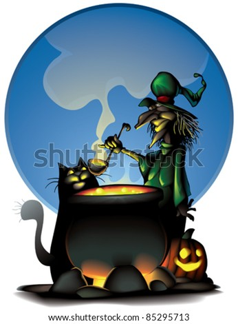 Witch is prepering  for Halloween - stock vector