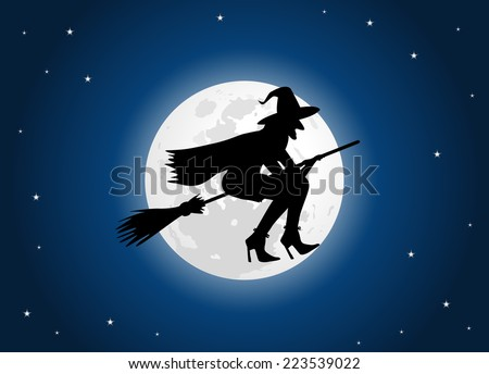 witch moon in blue stars background - stock vector