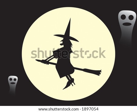 Witch on a broomstick vector that can be resized to ones choosing.  Halloweens coming up! - stock vector