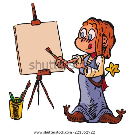 Witch Picture    A little witch paints a picture. Write or draw on canvas what you want. - stock vector