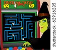 Witch playing halloween arcade game vector - stock vector