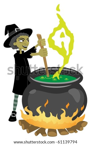 Witch Preparing Magic Potion-vector - stock vector