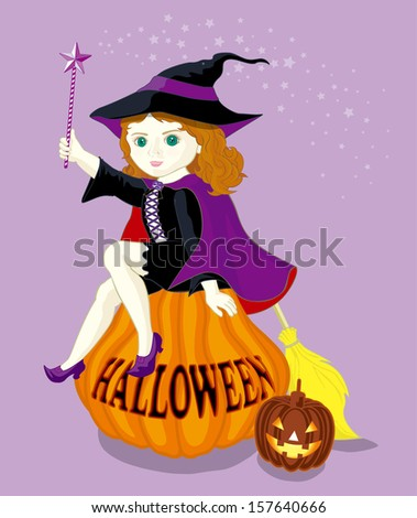 witch sitting on the pumpkin - for halloween party