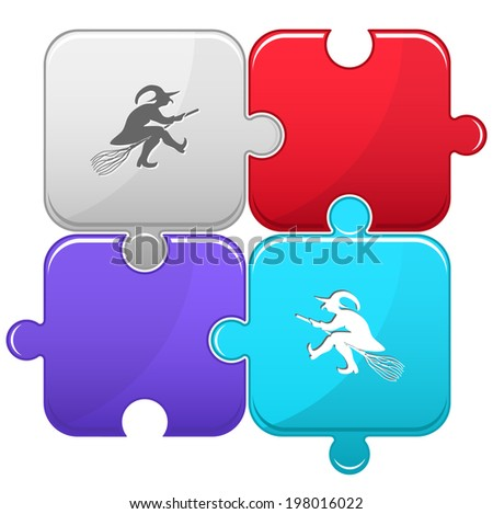 Witch. Vector puzzle. - stock vector