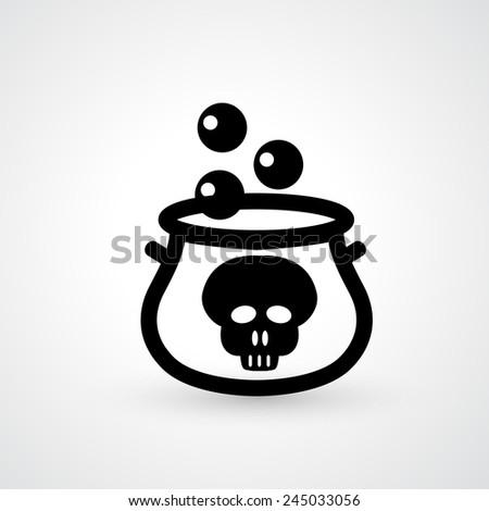 witches cauldron icon vector - stock vector