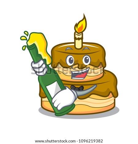 Terrific Beer Birthday Cake Mascot Cartoon Stock Vector 1096219382 Birthday Cards Printable Benkemecafe Filternl