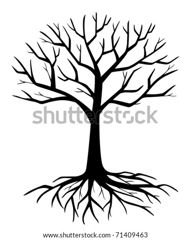 withered branch tree silhouette vector - stock vector
