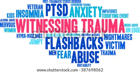 Witnessing Trauma word cloud on a white background.  - stock vector