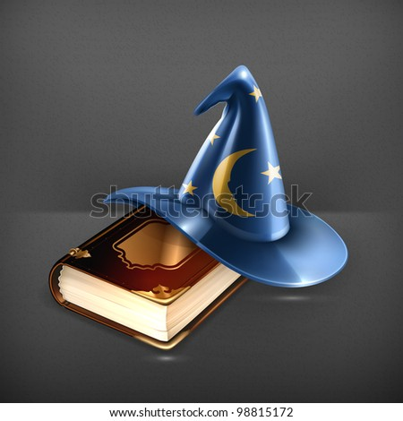 Wizard hat and old book - stock vector