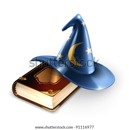 Wizard hat and old book, 10eps - stock vector