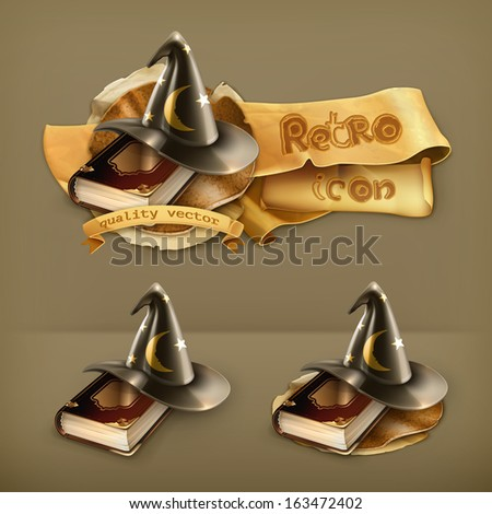 Wizard hat and old book vector icon - stock vector