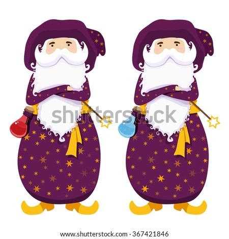 Wizards with magic wands and potions. Health potion and mana potion. Magician cute character isolated on white background. Cartoon sorcerer with white beard and mustache. Vector illustration. - stock vector