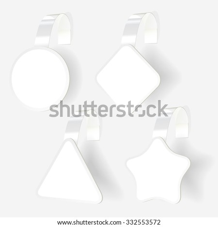 Wobbler with transparent strip collection isolated on white background. Vector illustration - stock vector