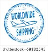 Woeldwide shipping rubber stamp - stock photo