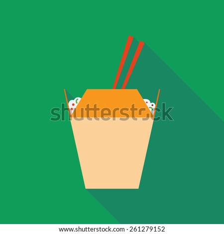 wok noodles icon with long shadow. flat style vector illustration - stock vector