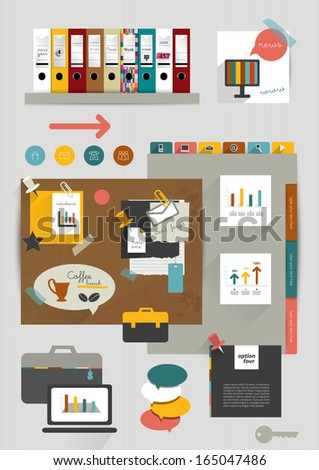 Wok office web layout. Colorful graphic template. Folder, sticker, graph, tab, data, bubbles set. Vector background. - stock vector