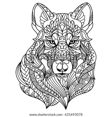 Wolf Coloring Book Adults Stock Vector (2018) 635693078 - Shutterstock