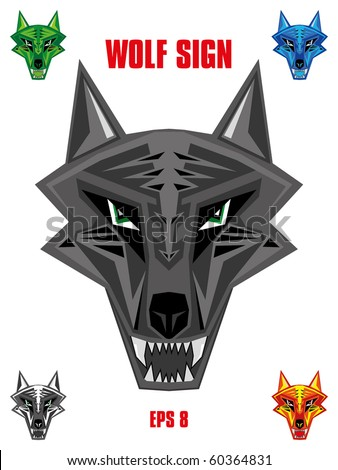 Wolf emblem in sharp futuristic red indian style head. Available in five colors - stock vector