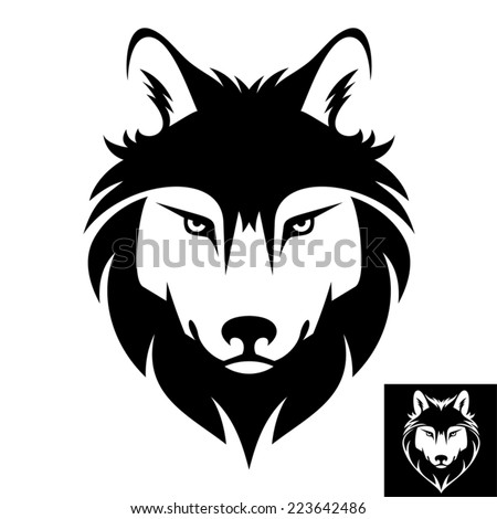 Wolf Head Icon in black and white. This is vector illustration ideal for a mascot and T-shirt graphic. Inversion version included. - stock vector