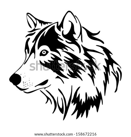 wolf head side vector - stock vector